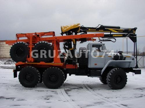 Лесовозный автопоезд Урал 55571 с манипулятором (59602C, 9047L)