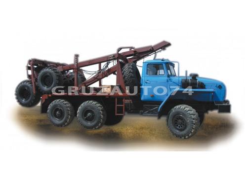 Лесовозный автопоезд Урал 55571 с самопогрузкой прицепа-роспуска (59602C, 9047L)
