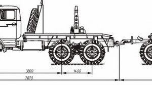 Трубовозный автопоезд Урал 55571 с самопогрузкой труб (59602A, 9047T)